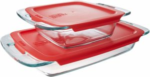 Pyrex Easy Grab Glass Bakeware Set with Red Lids