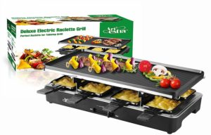 Artestia Electric Raclette Grill with Full Size Non-Stick Reversible Aluminum Plate, Serve the whole family (Full Size Reversible Aluminum Plate Raclette)