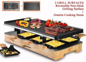 Artestia Electric Raclette Grill with Two Full Size Top Plates (Non-Stick Reversible Aluminum and High Density Granite Stone), Serve the whole family (Wood Pattern Full Size Stone,Aluminum Raclette)