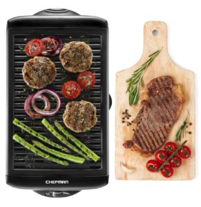 Chefman Electric Smokeless Indoor Grill - Griddle Non-Stick Cooking Surface and Adjustable Temperature Knob from Warm to Sear for Customized BBQ Grilling, Dishwasher Safe Removable Drip Tray