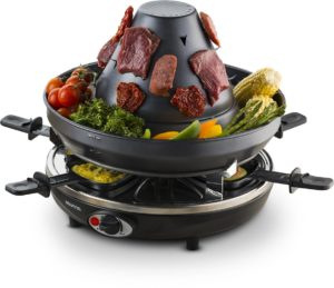 Gourmia Electric Raclette - Table-Top Party Grill Vertical Grilling Sombrero Cheese Melting Spatula Pans - Non Stick- Great gift Idea- FREE Recipe Book