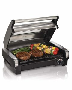 Hamilton Beach Electric Indoor Searing Grill with Removable Easy-to-Clean Nonstick Plate, Viewing Window, Stainless Steel