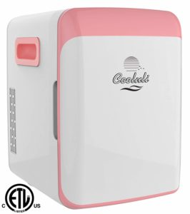 Cooluli CMF15LP Mini Fridge Electric Cooler and Warmer AC/DC Portable Thermoelectric System, Compact Refrigerator, 15 Liter/18 Cans, Pink