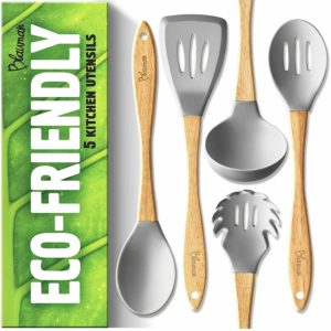 New Wooden Kitchen Utensils Set - Silicone Cooking Spoons for Nonstick Cookware - Eco-friendly & No Odor