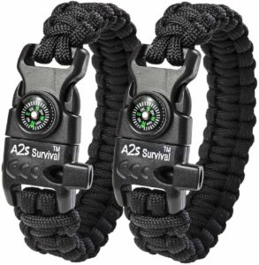 A2S Protection Paracord Bracelet K2-Peak – Survival Gear Kit with Embedded Compass, Fire Starter, Emergency Knife & Whistle EDC Hiking Gear- Camping Gear Christmas, holiday, birthday gift for men, women, sister, brother, friends, husband, boyfriend