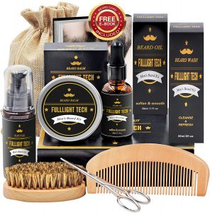 Christmas, birthday, anniversary, Beard Kit for Men Grooming and Care Beard Wash,Shampoo,Unscented Beard Growth Oil,Beard Balm Leave-in Conditioner,Beard Comb,Beard Brush,Beard Scissor Natural and Organic for Beard Care