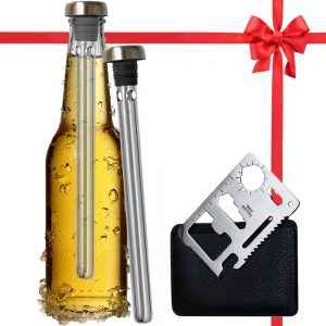 Best Beer Chiller Sticks for Bottles and Cap Opener 2 Pack - Beer Gifts for Men - Top Christmas Stocking Stuffers Idea Dad Husband Beer Lovers Accessories - Unique Practical Gift for Beer Drinkers friend, husband, dad as anniversary, holiday,Christmas, birthday gift