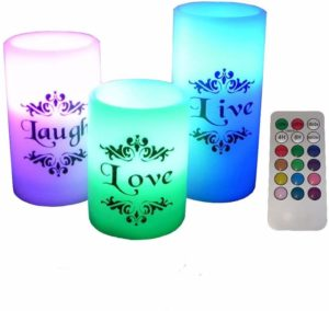 EGI - Christmas ,birthday,Holiday gift, Set of 3 Flickering Flameless Candles with Multi Color Remote Control and Timer - Romantic Led Candles - with Live, Love, Laugh Decal - Made with Real Wax
