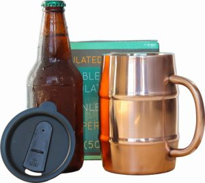 Insulated Beer Mug - Ice Cold to the Last Drop! Perfect Christmas, holiday, birthday Gift for Beer Lovers - men, women, friends, sister brother Double Wall Stainless Steel, Copper Plated