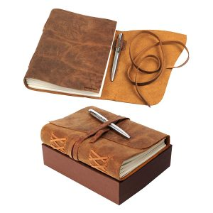 Christmas, holiday, birthday, anniversary gift for men women , brother, sister, teacher friend Leather Journal Notebook Gift Set with Luxury Pen – Handmade Genuine Water Buffalo Leather Travel Journal with Unique Hand-Stitched Coptic Leather Binding – Premium Recycled Acid-Free Cotton Paper