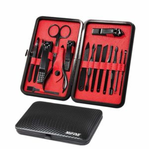 holiday, Christmas,birthday gift Mens Manicure Set - Mifine 16 In 1 Stainless Steel Professional Pedicure Kit Nail Scissors Grooming Kit with Black Leather Travel Case Second Generation