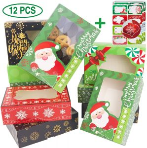 12 Christmas Cookie Boxes -Large Holiday Bakery Food Container for Gift Giving with 80 Count Christmas Foil Gift Stickers
