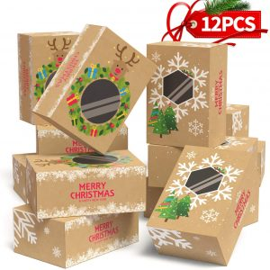 Christmas Cookie Boxes Large for Gift Giving Packaging Holiday Christmas Food, Bakery Treat Boxes with Window, Candy and Cookie Boxes from KD KIDPAR