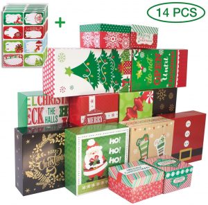 14 Decorative Christmas Gift Boxes with Lids and 80-Count Foil Christmas Gift Tag Stickers (Assorted Size,6 Rectangle,4 Square, 4 Small Square)