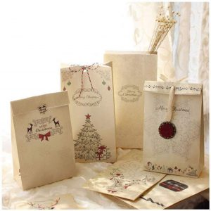 16Pcs Christmas Kraft Bags Gift Candy Bags Treat Bags with Strings(12X6X22cm)
