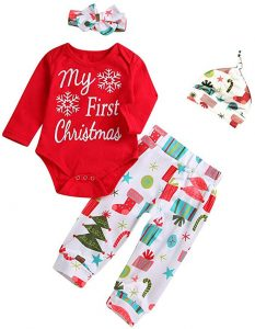 3PCS Baby Boy Girl Outfits Infant My First Christmas Bodysuit Long Sleeve Snow Romper Cartoon Pants and Headband Clothes Set