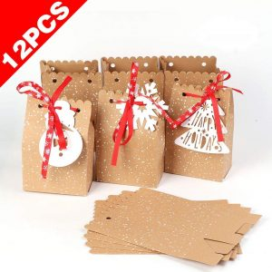 AerWo 12pcs Christmas Gift Bags, Kraft Paper Bags Assortment Holiday Gift Bags with Tags for Christmas Party Supplies, Christmas Goodies Bags, 5 x 3 x 7 Inch