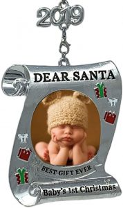 BANBERRY DESIGNS Babys First Christmas Keepsake Frame - 2019 Dated Ornament for Newborn - Dear Santa Picture Holder - Baby 1st Photo Ornaments