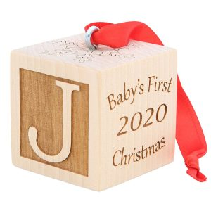 Baby's First Christmas Ornament, Choose from 3 Sizes, Personalized Christmas Wooden Block, Laser Engraved Wooden Baby Block