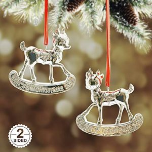 Babys First Christmas Ornaments ,Metalic Silver Reindeer Christmas Tree Ornament, Made of Resin,3D Design Gifts Box Included(Plating Reindeer)