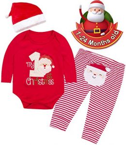 Camlinbo Christmas Outfit Baby Girls Boys My First Christmas Bodysuit Infant 3Pcs Santa Hat