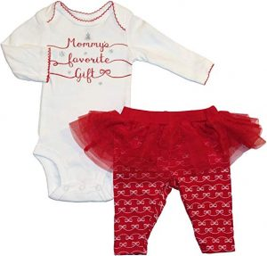 Carters Infant Girls Red , White Mommys Favorite Gift Christmas Outfit (Newborn)