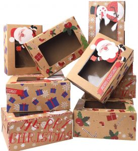 Christmas Bakery Boxes Cookie Treat Boxes with Clear Window Brown Kraft with Christmas Designs, Set of 30 Boxes by Moretoes