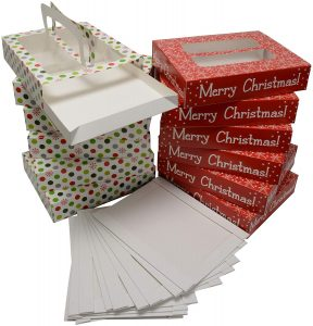 Christmas Cookie gift boxes with handles and tray, low rectangle shape with clear window on top, 2 holiday designs 6 of each print (Set of 12 treat boxes and 12 tray inserts)