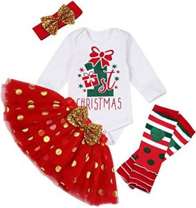 Christmas Newborn Baby Girls Outfit My First Christmas Rompers with Tutu Dress Leg Warmers 4PCs Winter Clothes Set