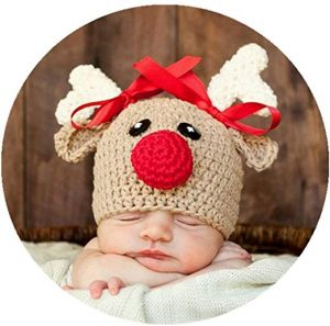 Coberllus Newborn Baby Photo Props Outfits Crochet Christmas Deer Hat for Boys Girls Photography Shoot