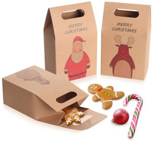 Coogam 1 Dozen Brown Kraft Paper Christmas Treat Bag - Snack Cookies Candy Box - Santa Claus Xmas Gift Bag Wrap Tapered Tote Present Care Packaging for Party Favor Cake Holiday New Year Decoration