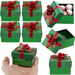 For-Keeps! (8 Pack Green Mini Gift Boxes with Lids, Pre Wrapped Gift Boxes with Bows, Christmas Party Favor Bulk Set