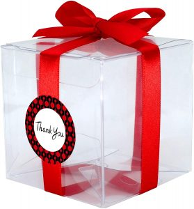 "Gechtas 20Pcs PET Crystal Clear Cube Gift Boxes, 3""x3""x3"", Food Safe, 0.3mm Thick, with Red Satin Ribbon and Thank You Stickers, for Wedding, Shower, Party Favors"