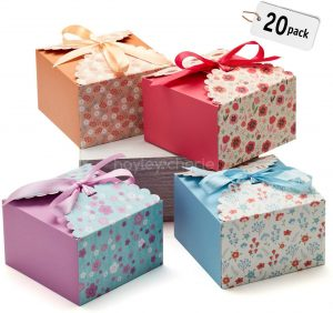 Hayley Cherie Gift Treat Boxes with Ribbons (20 Pack) - Thick 400gsm Card - 6 x 6 x 3.7 Inches - Use for Cakes, Cookies, Goodies, Candy, Party Christmas, Birthdays, Bridesmaids, Weddings (Standard)