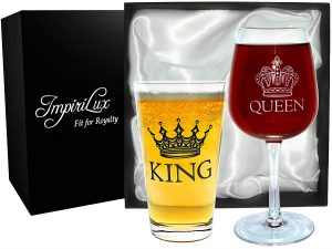 King Beer & Queen Wine Glass Set Beautiful Gift for friends, brother birthday Newlyweds, Engagements, Anniversaries, Weddings, Parents, Couples, Christmas Novelty Drinking Glassware King Beer & Queen Wine Glass Set