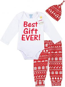 Lensous Baby Boys Girls 3PCS Christmas Best Gift Ever Outfit Set Long Sleeve Bodysui