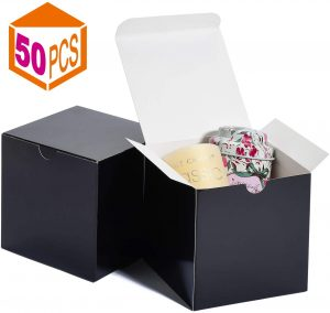 MESHA Kraft Boxes,4x4x4in Paper Gift Boxes with Lids for Gifts, Crafting, Cupcake Boxes,Boxes for Wrapping Gifts,Bridesmaid Proposal Boxes (Black-50Pcs)