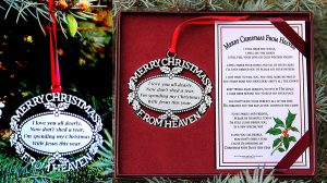 Merry Christmas From Heaven Pewter Finish Keepsake Memorial Ornament with Poem in Gift Box for friend, dad, teacher, brother, sister,mother