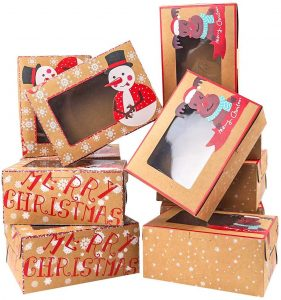 Moretoes Christmas Doughnut and Cookie Gift Boxes Treat Boxes with Clear Window Brown Kraft with Christmas Designs, Set of 16 Boxes