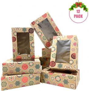 Morinostation Christmas Bakery Boxes with Window, Snowflake Cookie Gift Boxes,Brown Kraft with hot Stamp Christmas Designs,Set of 12 Boxes