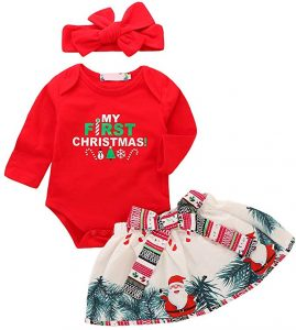 My First Christmas Holiday Newborn Baby Girl Outfit Romper Tutu Skirt Headband Clothes Merry Xmas Gift Party 3PCS Set