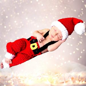 Newborn Baby Photography Props Santa Claus Outfits Handmade Crochet Knitted Christmas Costume for Baby Christmas Cap Hat and Suspender Trousers