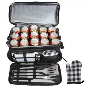POLIGO 12PCS BBQ Grill Accessories Set with 15 Can Black Insulated Waterproof Cooler Bag for anniversary,holiday,Christmas Birthday Gifts Camping Grilling Tools Kit Ideal Barbecue Utensils Presents for friend,brother,teacher,Dad Men Women
