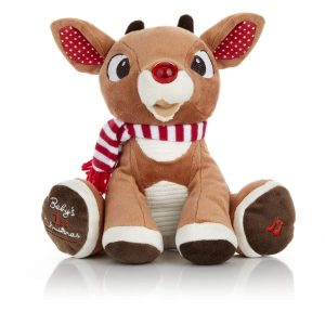 Rudolph The Red-Nosed Reindeer Babys First Christmas Plush with Music and Lights, 8 Inches