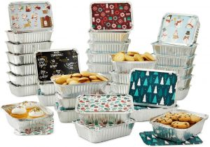 Set of 36 Christmas Treat Foil Containers 6 Holiday Designs, Snowman, Santa Festive Cover Print Disposable Food Storage Pan for Party Leftovers or Cookie Exchange