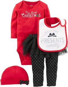 "Simple Joys by Carter's Baby Girls' 4-Piece ""My First Christmas"" Set"