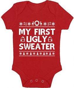 Vizor My First Ugly Sweater Baby Outfit Cute Christmas Sweater Bodysuit for Baby Funny Xmas Gifts for Newborn Babies