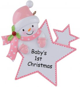 WorldWide Baby's 1st Christmas Ornament Baby Boy/Girl Star Christmas Personalized Gift(Pink