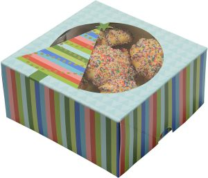 Wrap N Roll Christmas Cookie Gift Boxes With Clear Window Small Square Empty Bakery & Pastry Box 6 Inch Blue with Stripes For Gift Giving & Packaging On Holiday and Party Decor Bulk Pack ( Set Of 12)